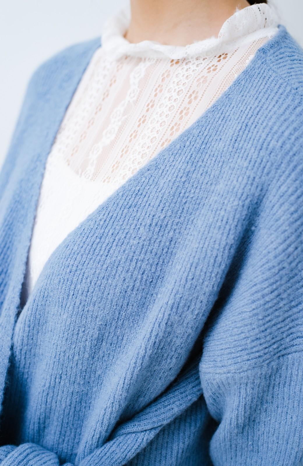 haco! さりげなく今っぽ&女っぽが叶う 変わりカシュクールニット <グレイッシュブルー>の商品写真4