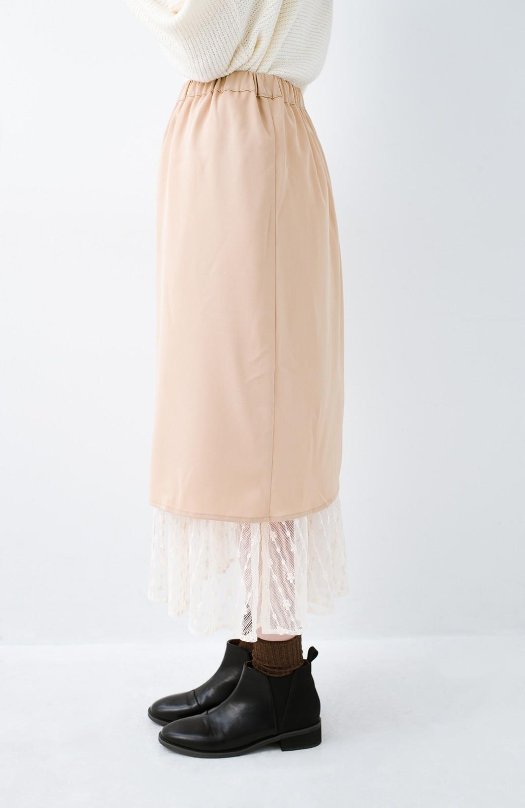 haco! 【旅の救世主】裏も表も重ね着も!着こなし自由自在なチュールリバーシブルスカート <ベージュ系その他>の商品写真12