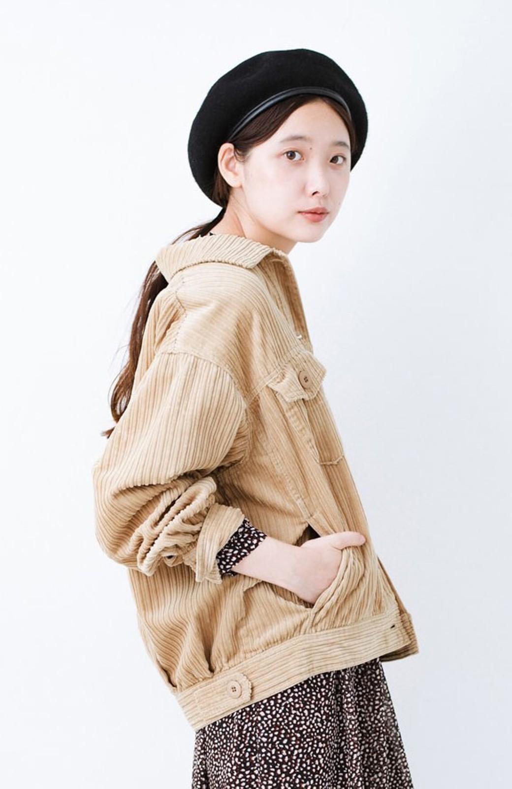 haco! パッと羽織って今っぽオシャレに見える コーデュロイジャケット <ベージュ>の商品写真1