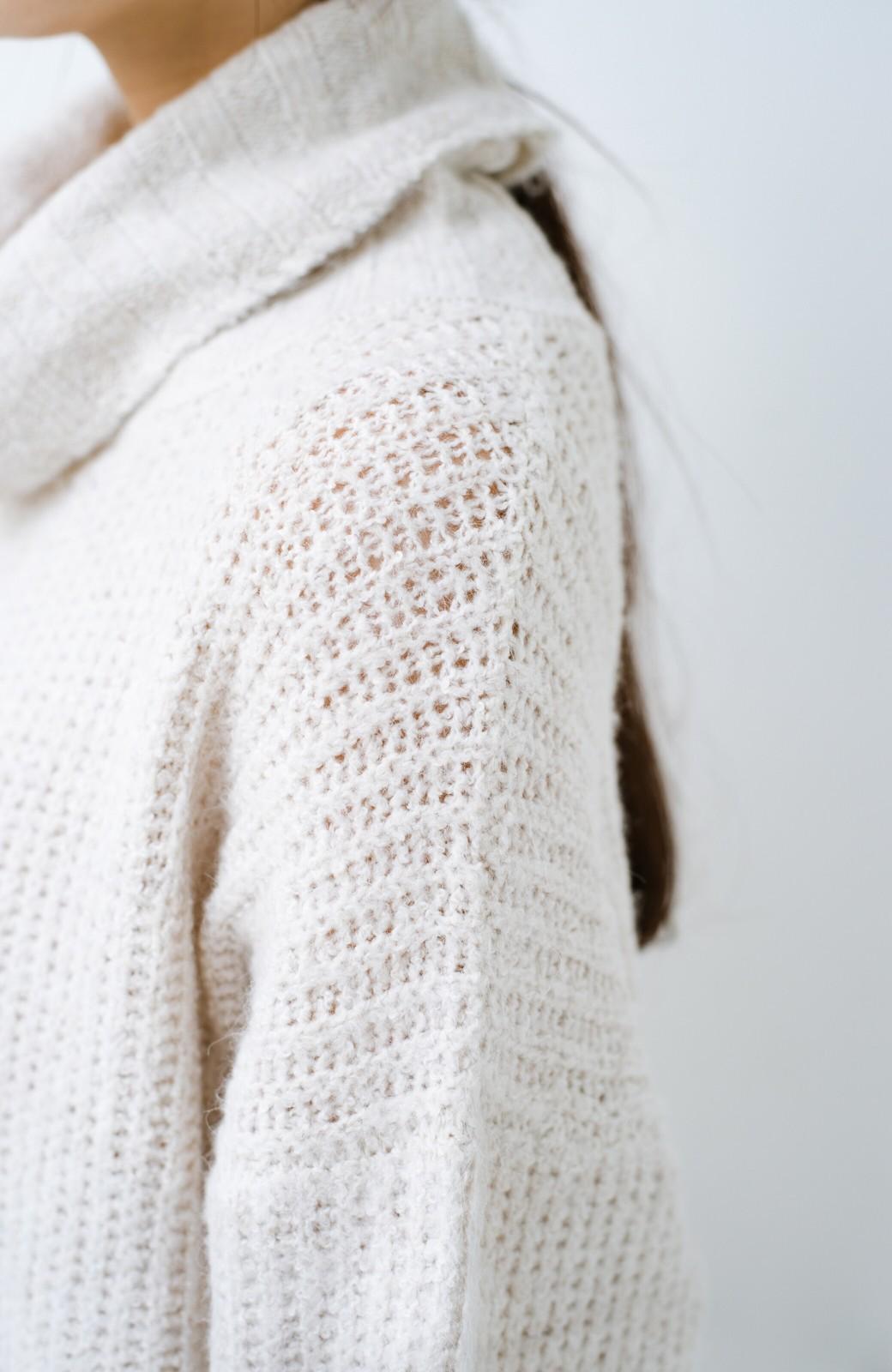 haco! 単品でも重ね着にも便利!ミックス糸がかわいいタートルニットワンピース <アイボリー>の商品写真8
