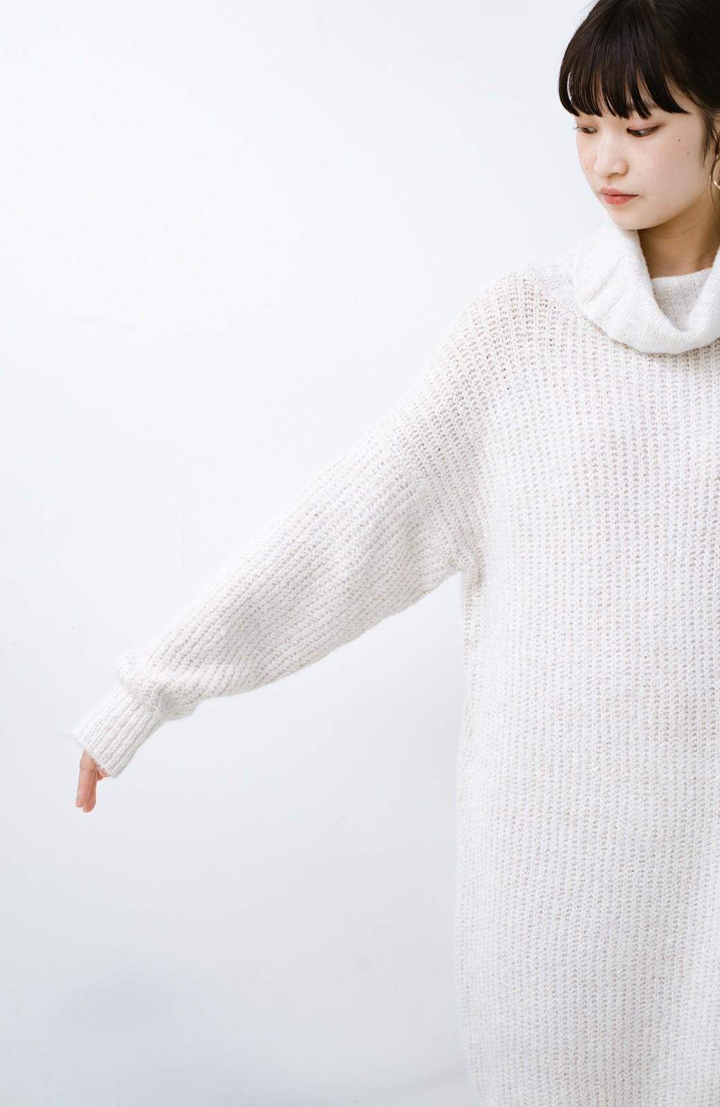 haco! 単品でも重ね着にも便利!ミックス糸がかわいいタートルニットワンピース <アイボリー>の商品写真15