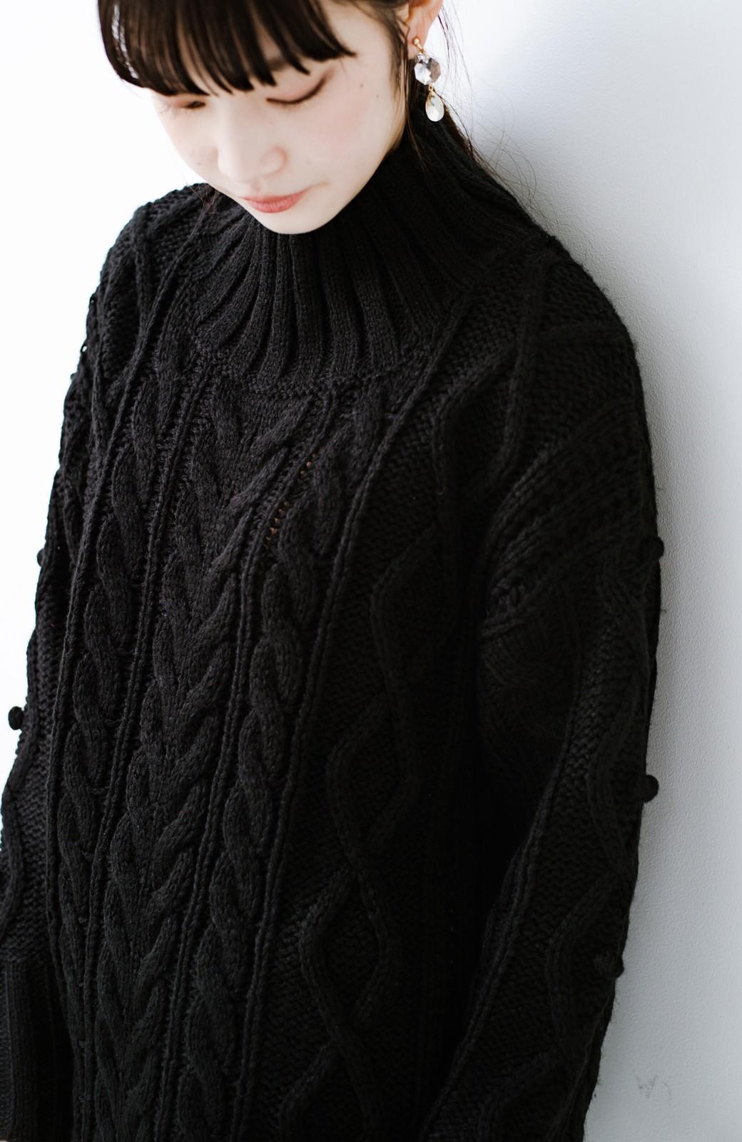 haco! ざっくり編みは女の子がかわいく見えるってよ(噂)パプコーンローゲージニット <ブラック>の商品写真3
