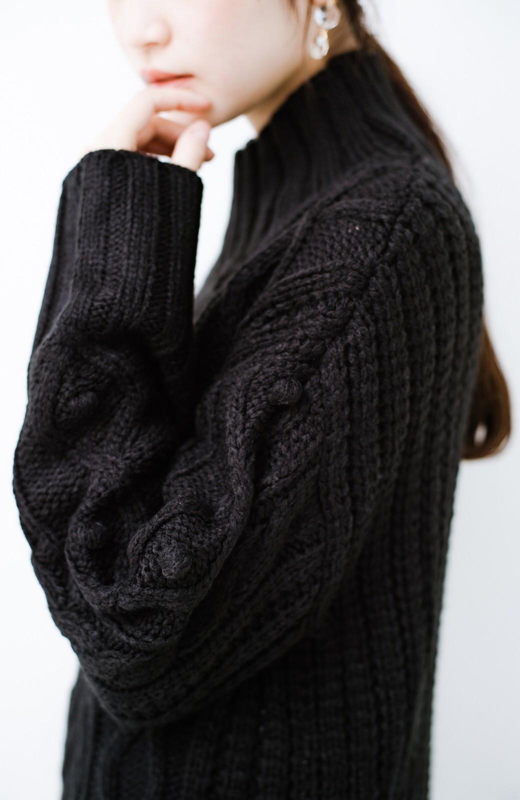 haco! ざっくり編みは女の子がかわいく見えるってよ(噂)パプコーンローゲージニット <ブラック>の商品写真4