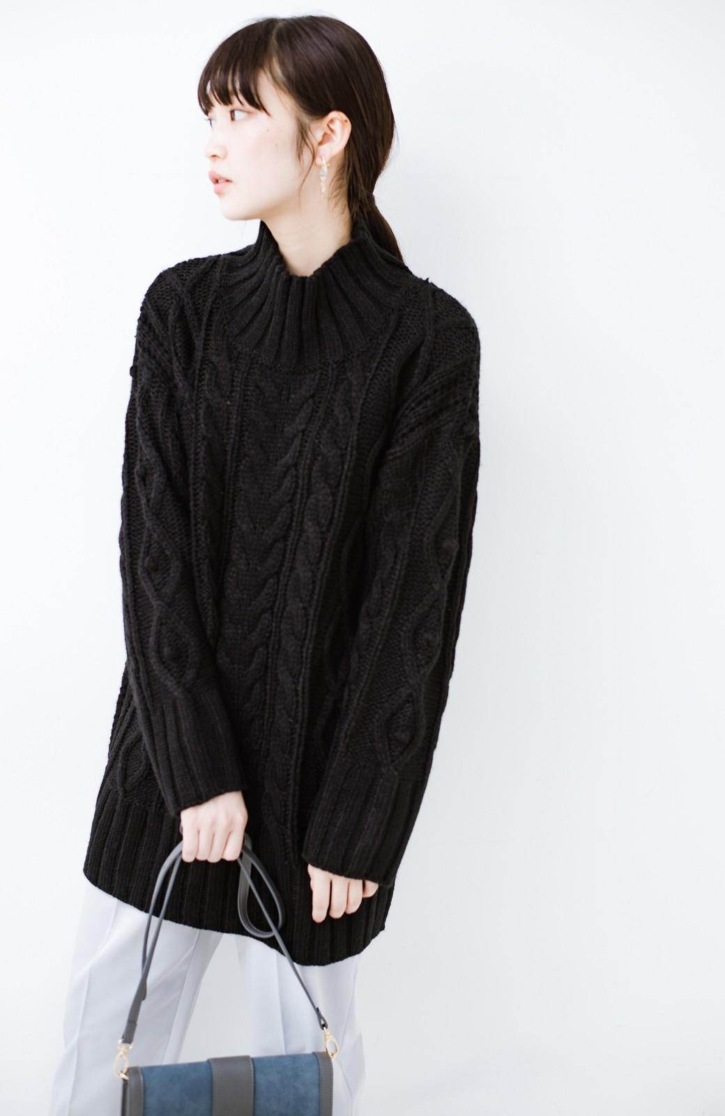 haco! ざっくり編みは女の子がかわいく見えるってよ(噂)パプコーンローゲージニット <ブラック>の商品写真1