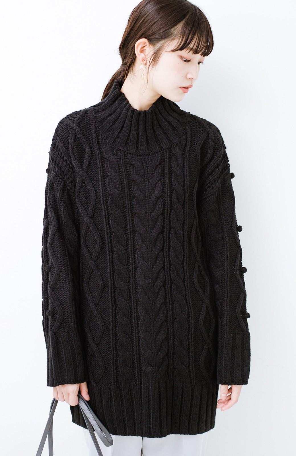 haco! ざっくり編みは女の子がかわいく見えるってよ(噂)パプコーンローゲージニット <ブラック>の商品写真6