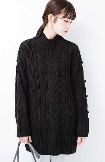 haco! ざっくり編みは女の子がかわいく見えるってよ(噂)パプコーンローゲージニット <ブラック>の商品写真