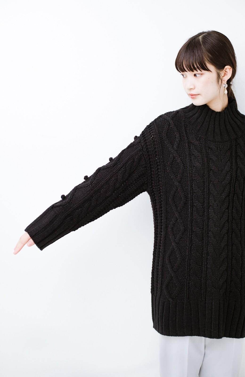 haco! ざっくり編みは女の子がかわいく見えるってよ(噂)パプコーンローゲージニット <ブラック>の商品写真10
