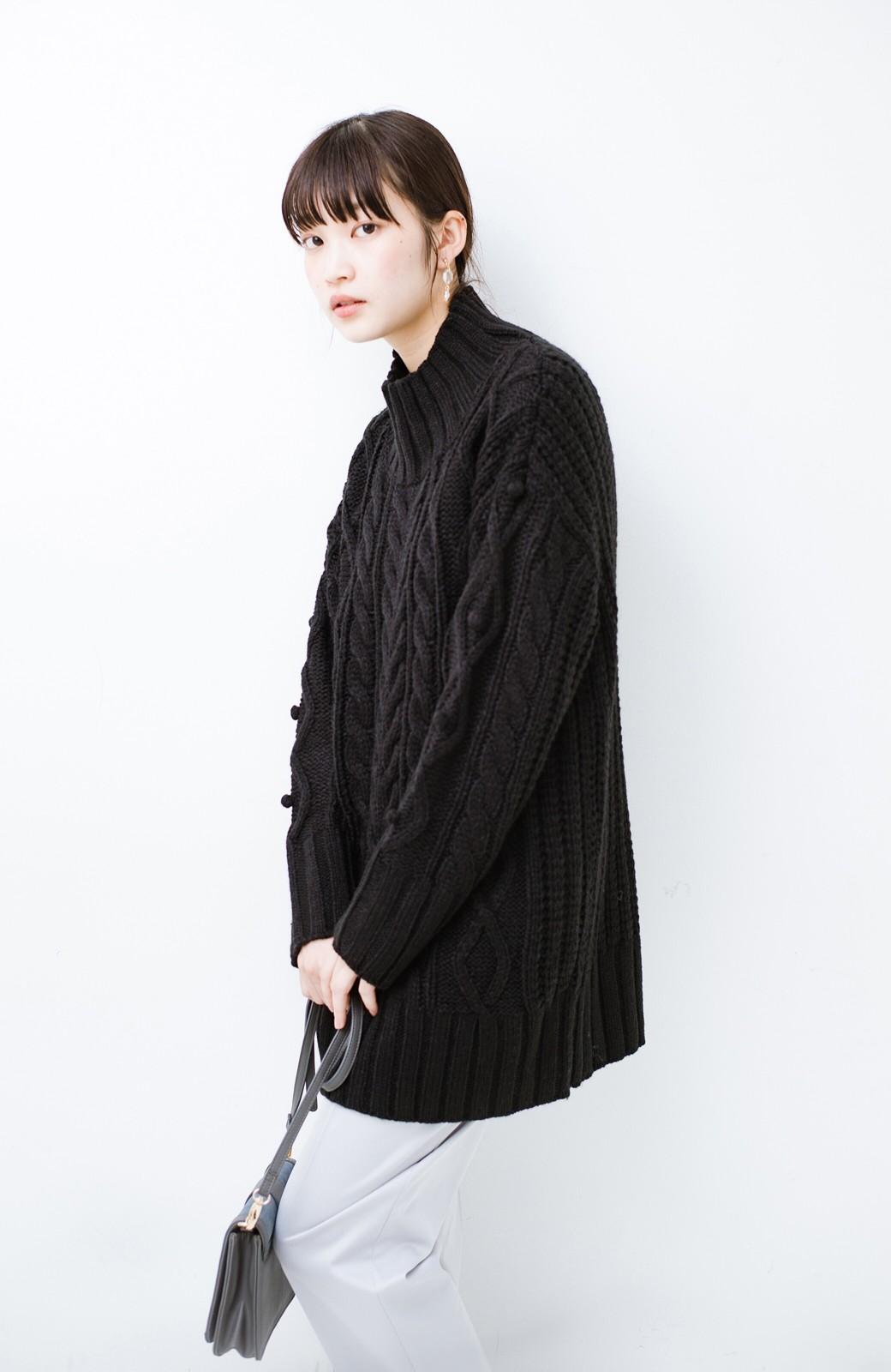 haco! ざっくり編みは女の子がかわいく見えるってよ(噂)パプコーンローゲージニット <ブラック>の商品写真11