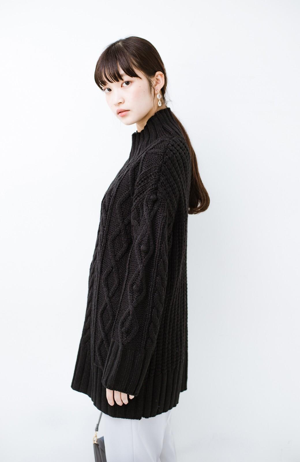 haco! ざっくり編みは女の子がかわいく見えるってよ(噂)パプコーンローゲージニット <ブラック>の商品写真12