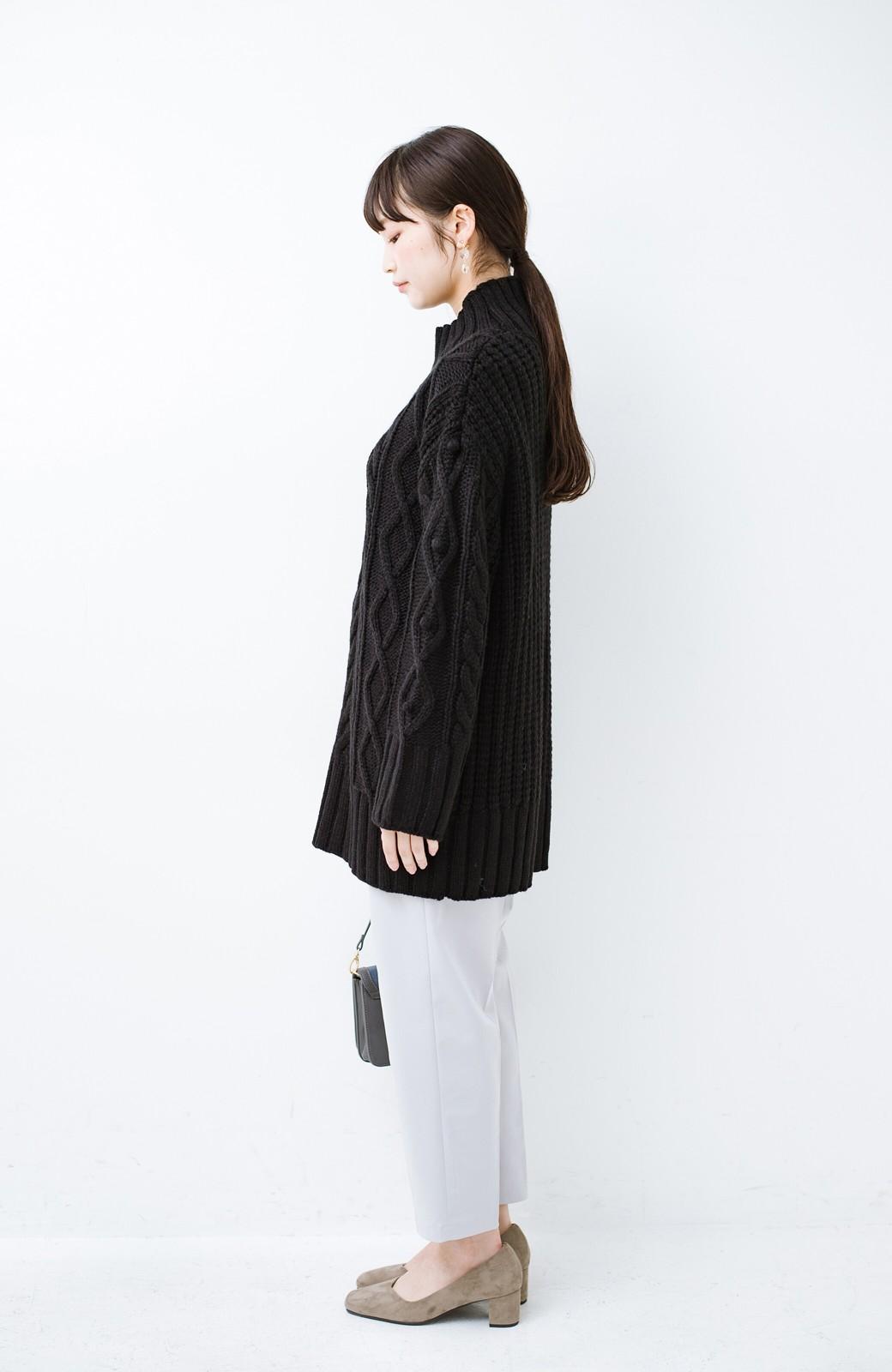 haco! ざっくり編みは女の子がかわいく見えるってよ(噂)パプコーンローゲージニット <ブラック>の商品写真8