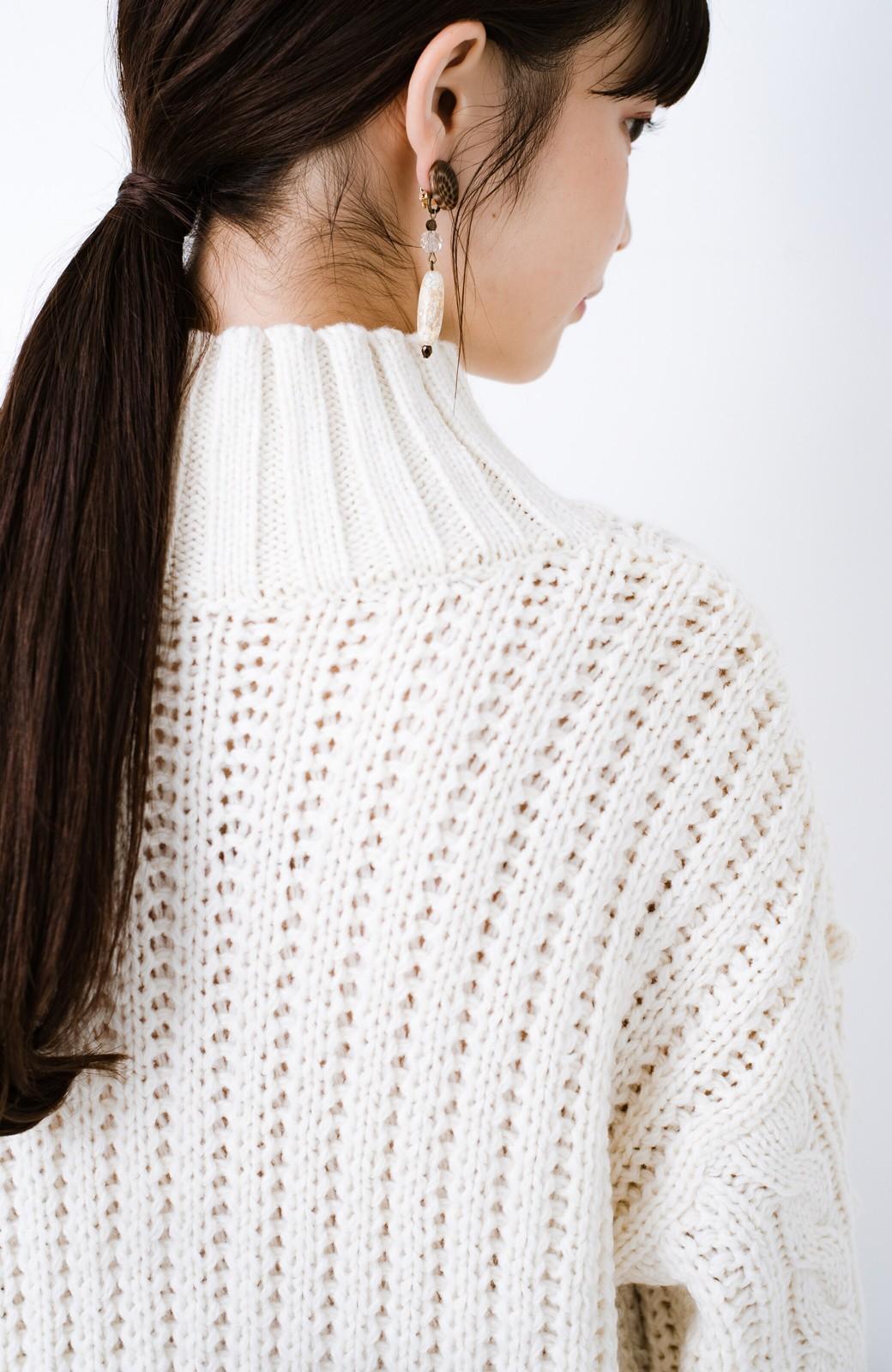 haco! ざっくり編みは女の子がかわいく見えるってよ(噂)パプコーンローゲージニット <アイボリー>の商品写真4