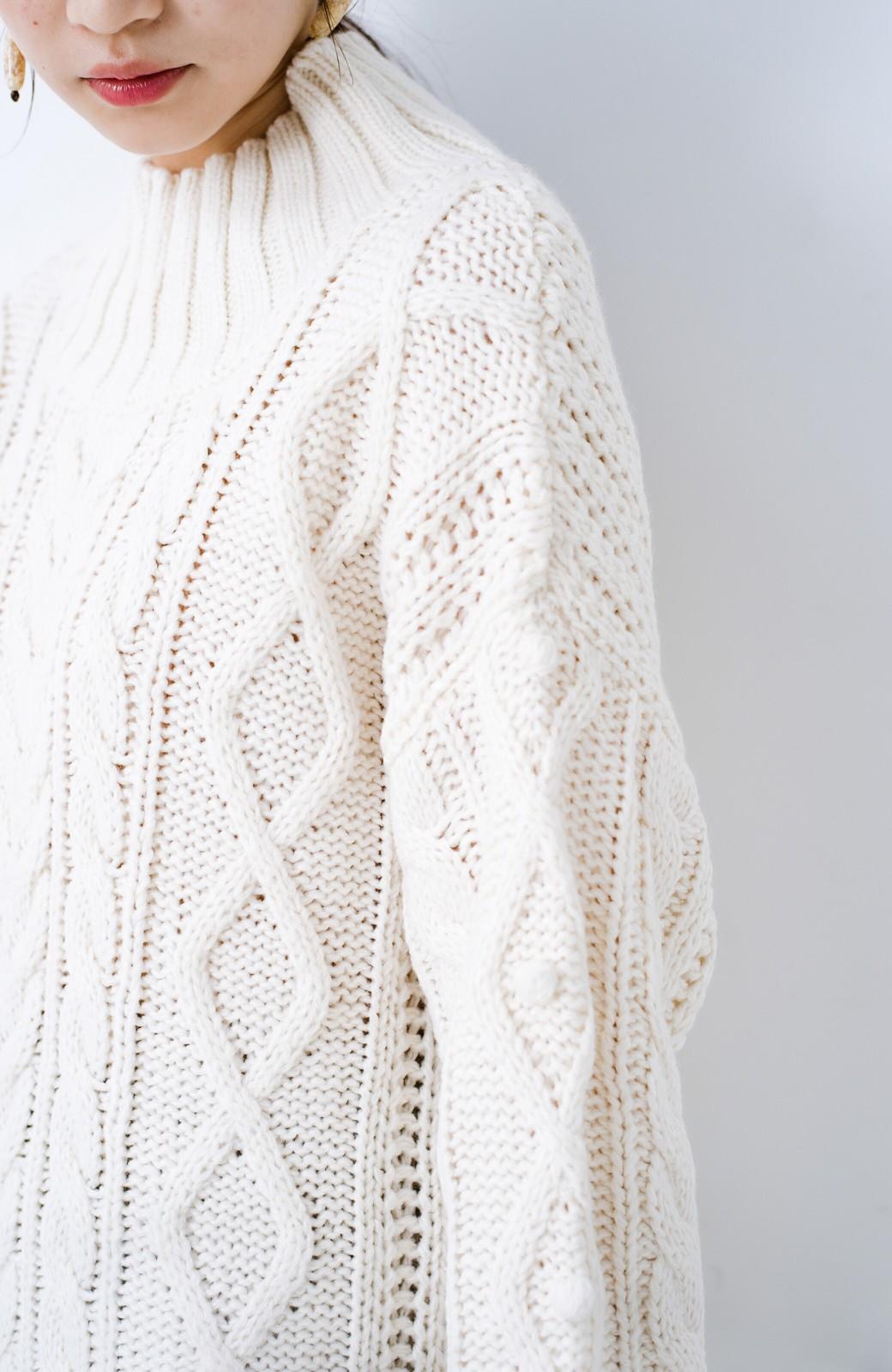 haco! ざっくり編みは女の子がかわいく見えるってよ(噂)パプコーンローゲージニット <アイボリー>の商品写真5