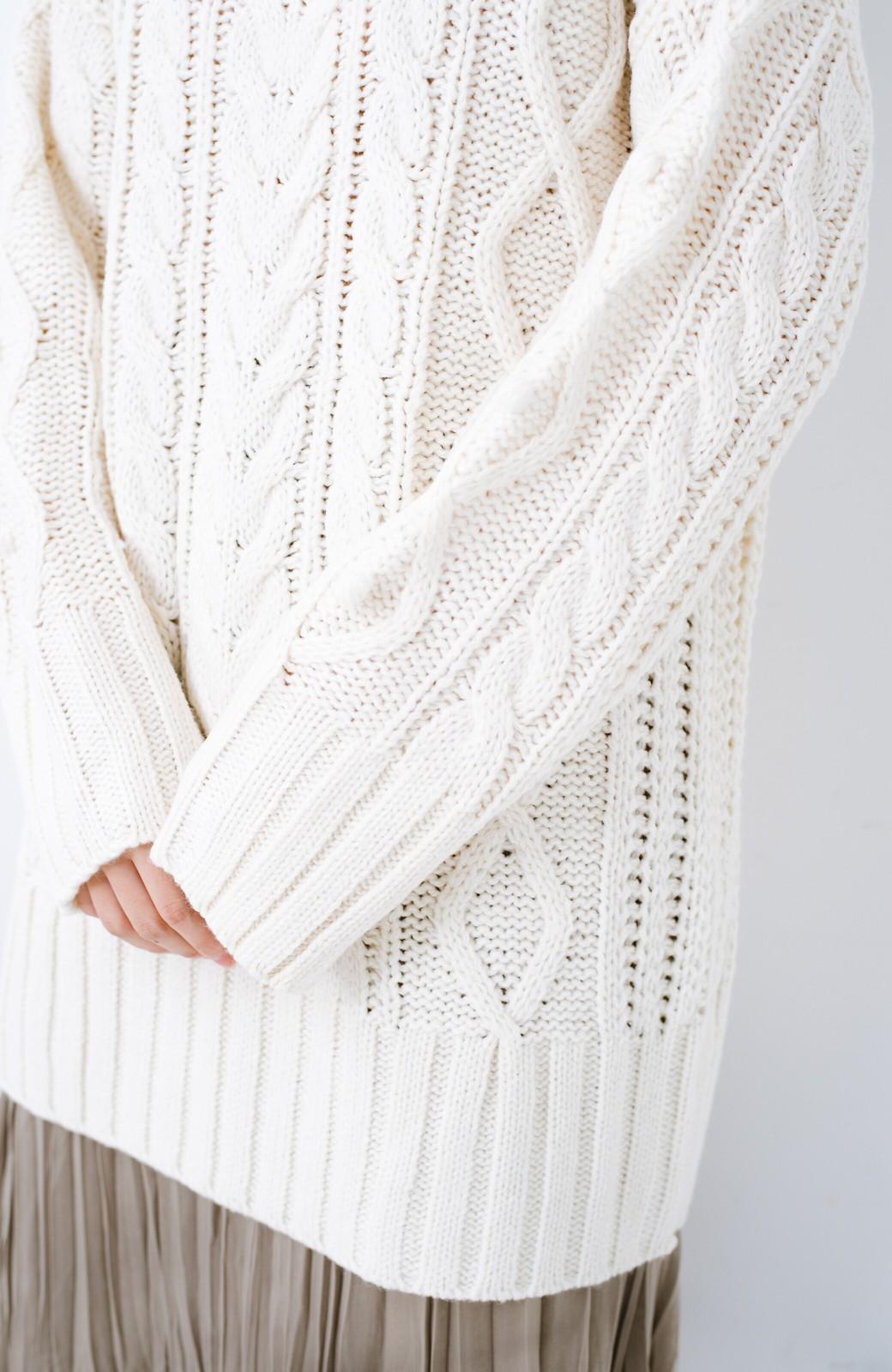 haco! ざっくり編みは女の子がかわいく見えるってよ(噂)パプコーンローゲージニット <アイボリー>の商品写真6