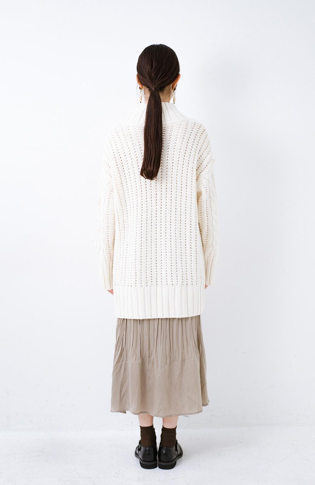 haco! ざっくり編みは女の子がかわいく見えるってよ(噂)パプコーンローゲージニット <アイボリー>の商品写真11
