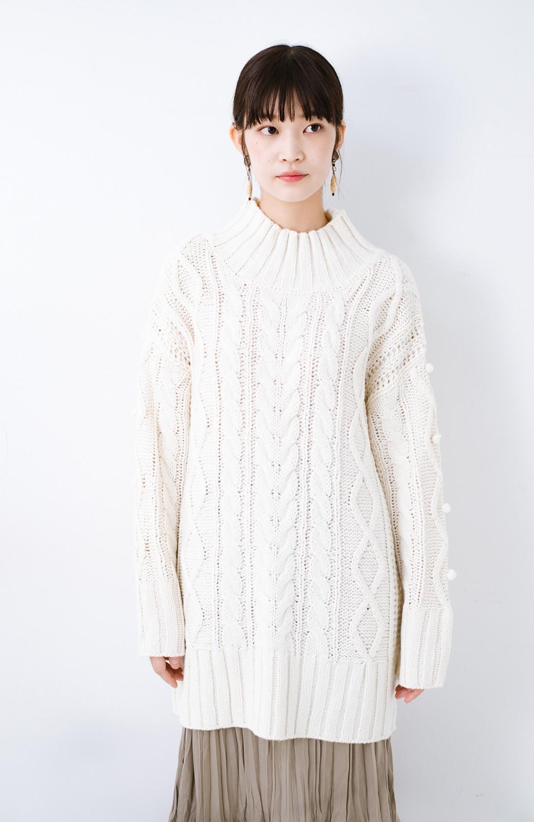 haco! ざっくり編みは女の子がかわいく見えるってよ(噂)パプコーンローゲージニット <アイボリー>の商品写真12