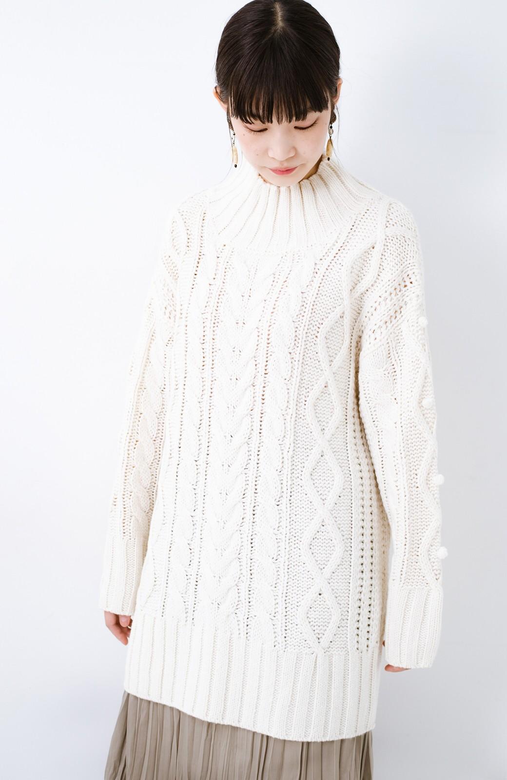 haco! ざっくり編みは女の子がかわいく見えるってよ(噂)パプコーンローゲージニット <アイボリー>の商品写真13