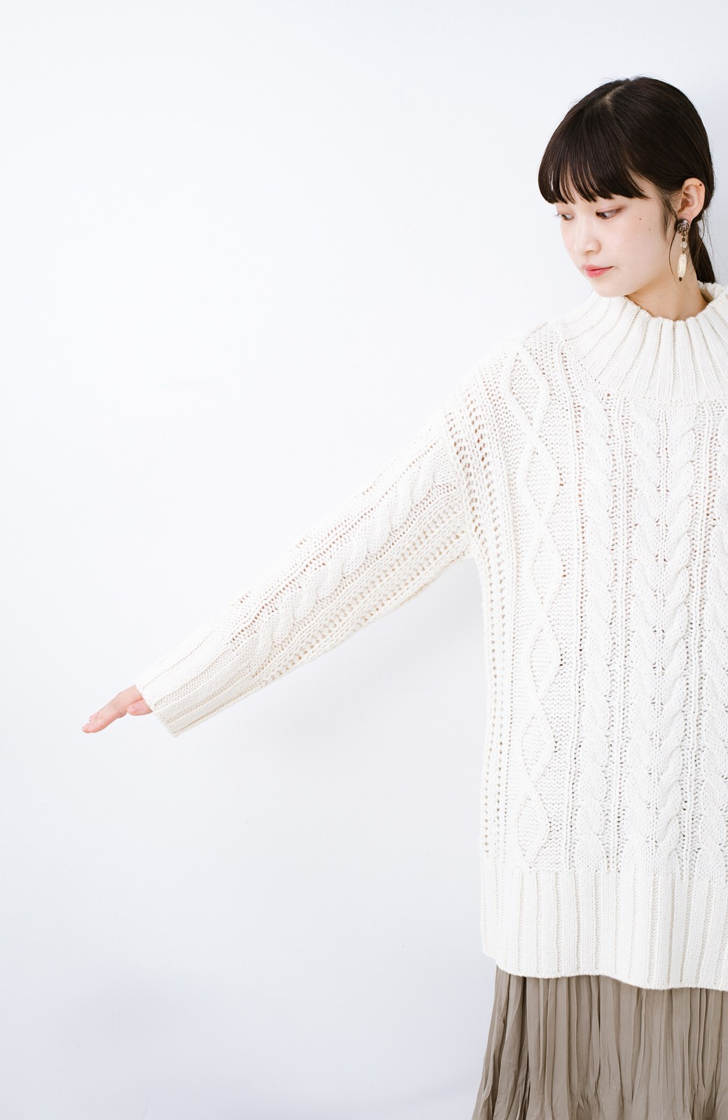haco! ざっくり編みは女の子がかわいく見えるってよ(噂)パプコーンローゲージニット <アイボリー>の商品写真14