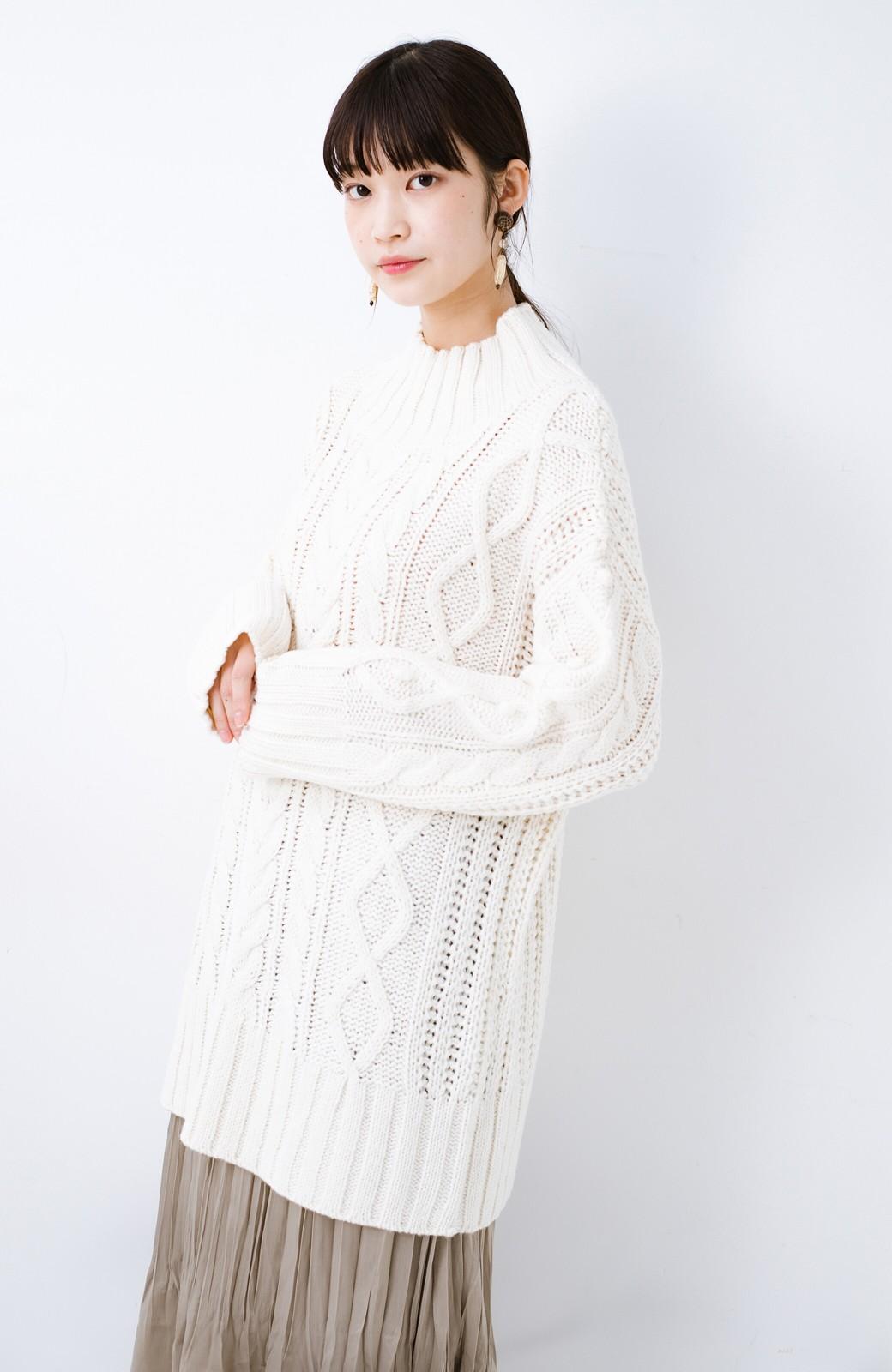 haco! ざっくり編みは女の子がかわいく見えるってよ(噂)パプコーンローゲージニット <アイボリー>の商品写真15
