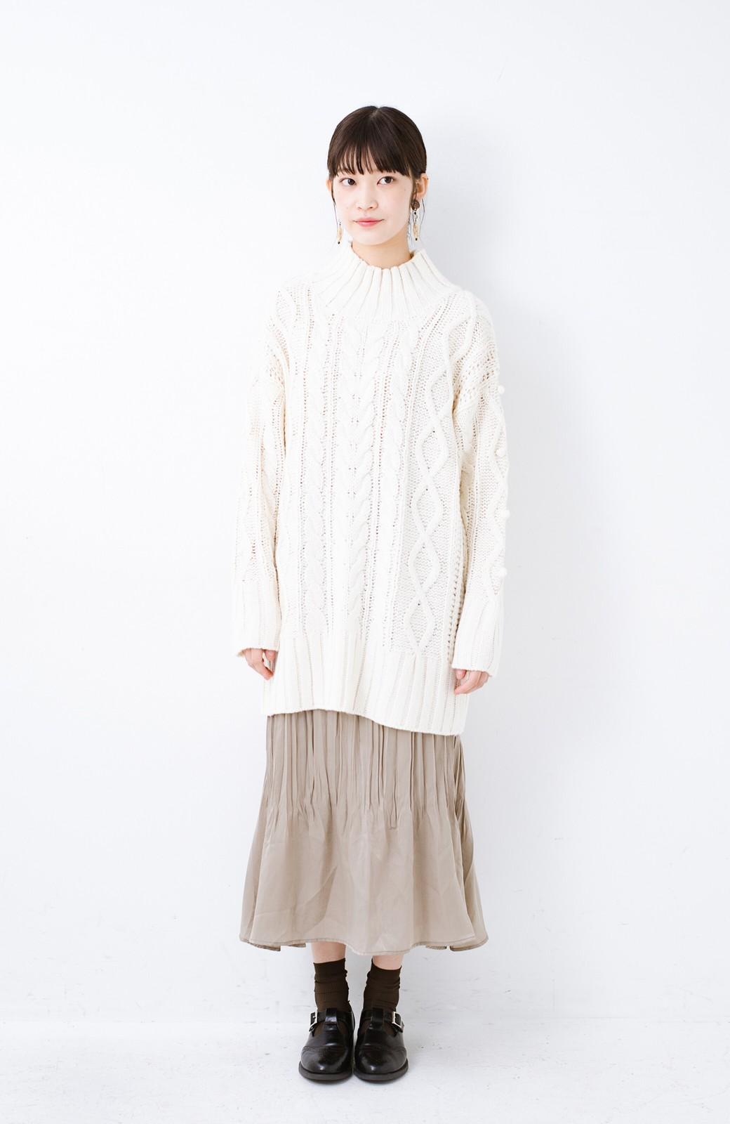 haco! ざっくり編みは女の子がかわいく見えるってよ(噂)パプコーンローゲージニット <アイボリー>の商品写真7
