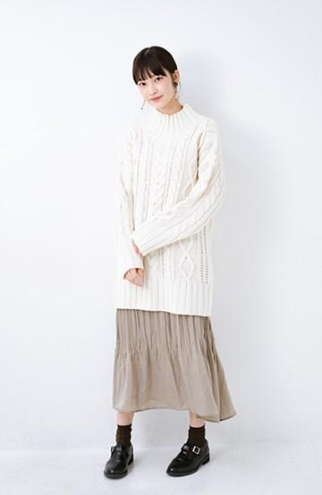 haco! ざっくり編みは女の子がかわいく見えるってよ(噂)パプコーンローゲージニット <アイボリー>の商品写真