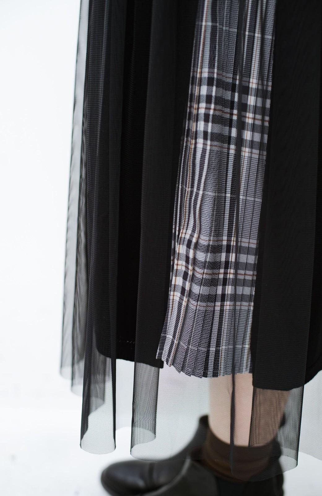haco! 着こなし無限!自由自在なスリットロングニットとチェックプリーツスカートとチュール巻きスカートの3点セット <ブラック>の商品写真11