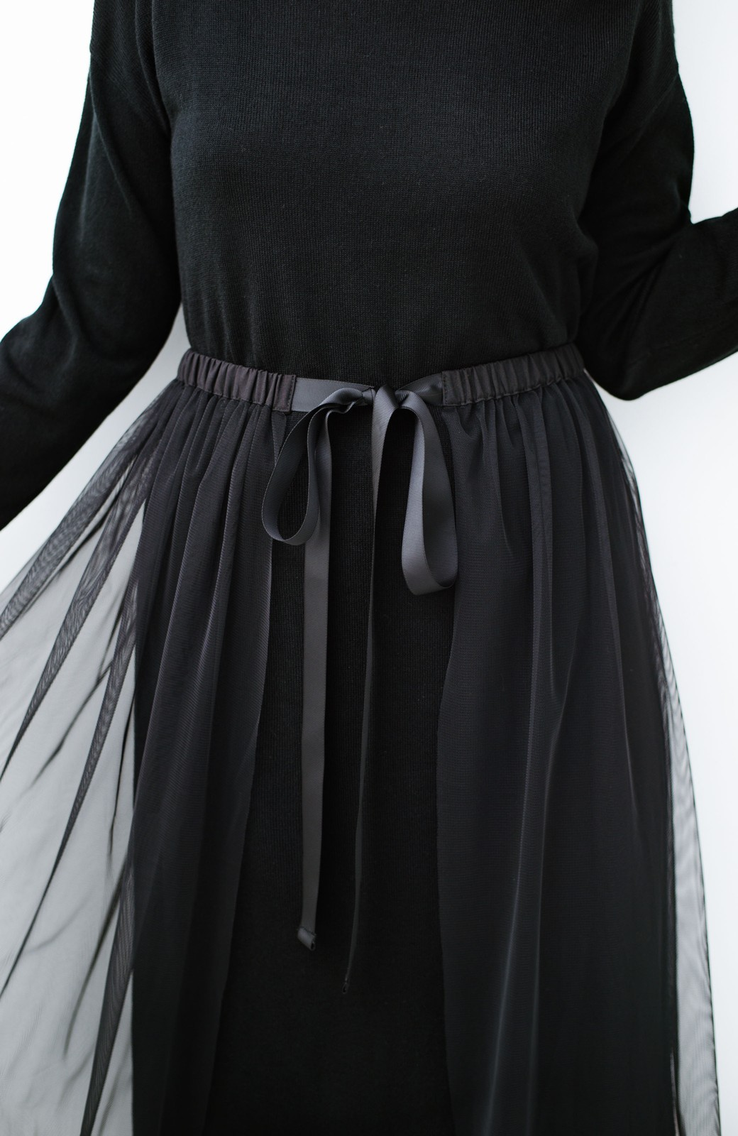 haco! 着こなし無限!自由自在なスリットロングニットとチェックプリーツスカートとチュール巻きスカートの3点セット <ブラック>の商品写真12