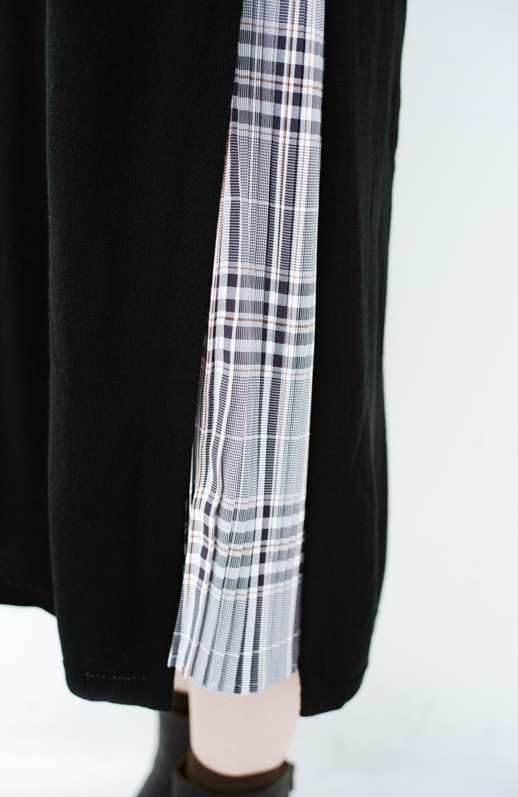 haco! 着こなし無限!自由自在なスリットロングニットとチェックプリーツスカートとチュール巻きスカートの3点セット <ブラック>の商品写真14