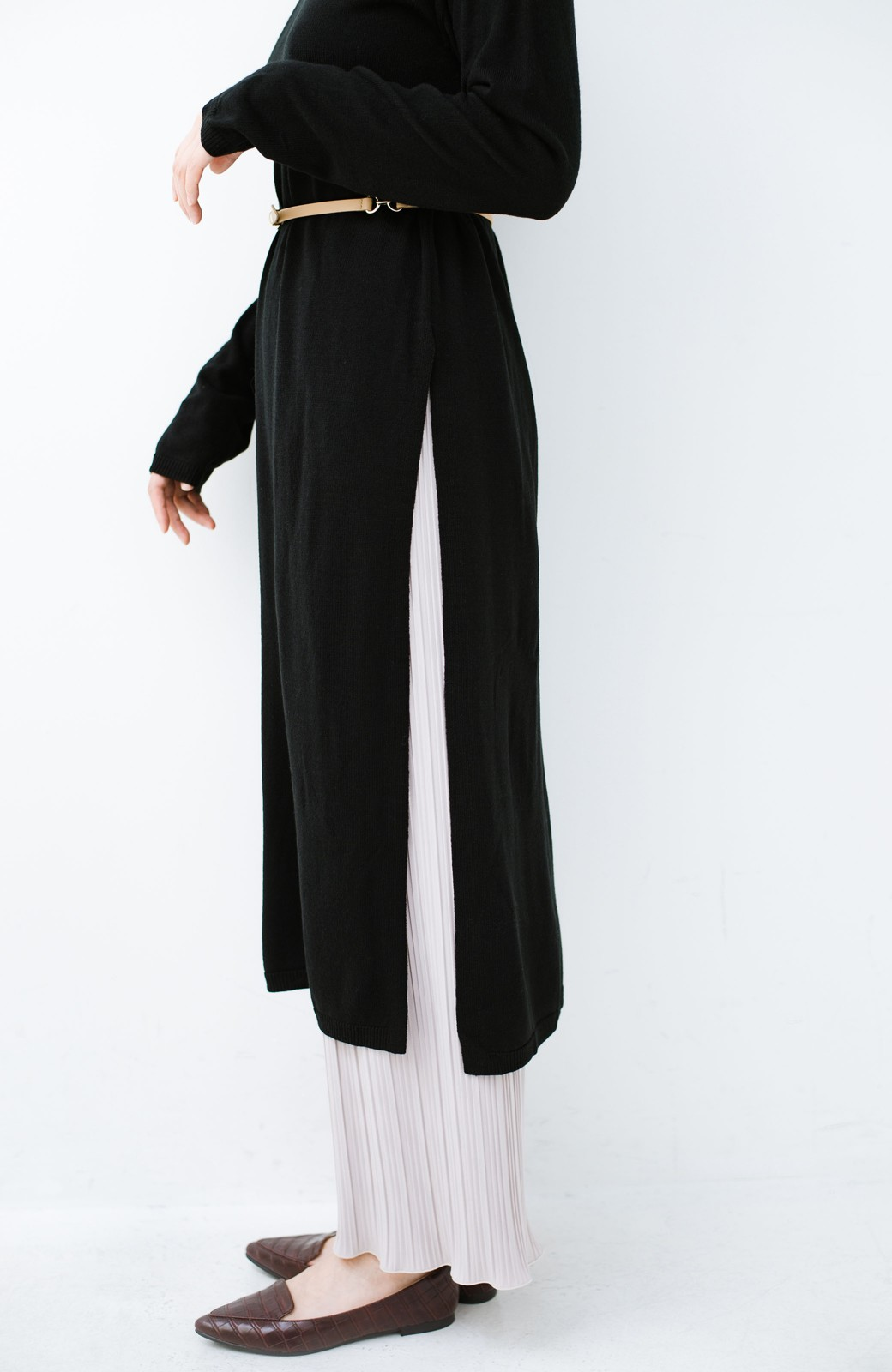 haco! 着こなし無限!自由自在なスリットロングニットとチェックプリーツスカートとチュール巻きスカートの3点セット <ブラック>の商品写真15