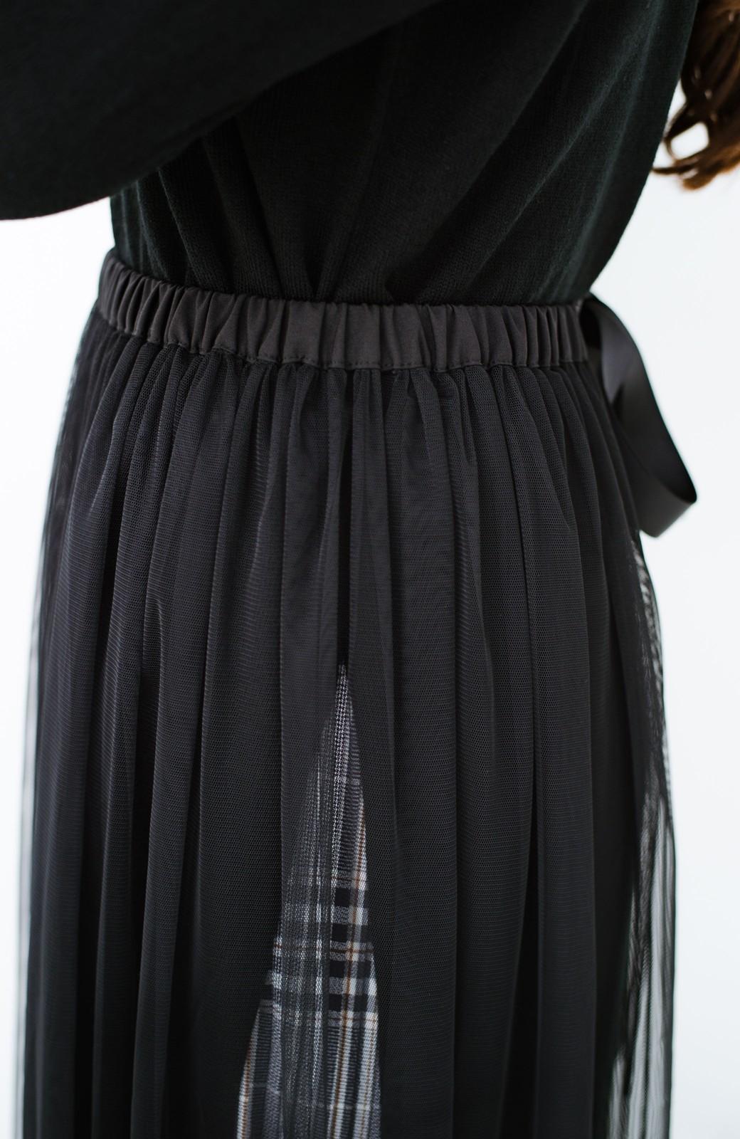 haco! 着こなし無限!自由自在なスリットロングニットとチェックプリーツスカートとチュール巻きスカートの3点セット <ブラック>の商品写真10