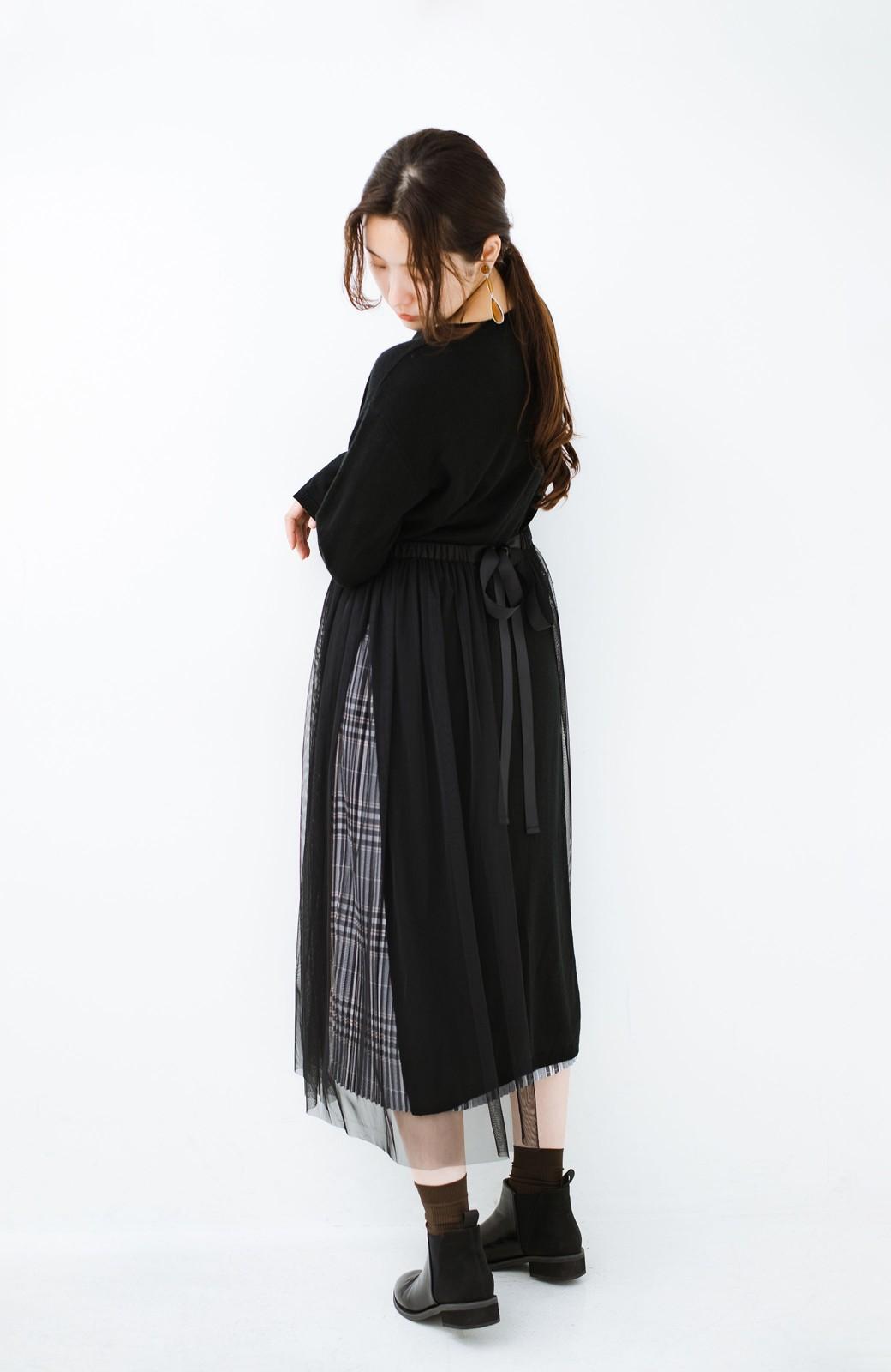 haco! 着こなし無限!自由自在なスリットロングニットとチェックプリーツスカートとチュール巻きスカートの3点セット <ブラック>の商品写真26