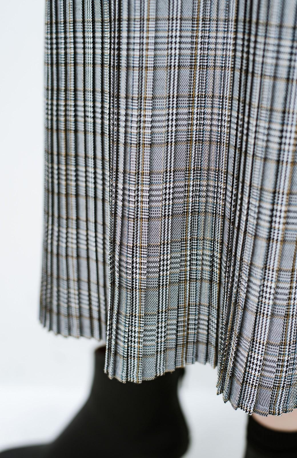 haco! 着こなし無限!自由自在なスリットロングニットとチェックプリーツスカートとチュール巻きスカートの3点セット <ネイビー>の商品写真36