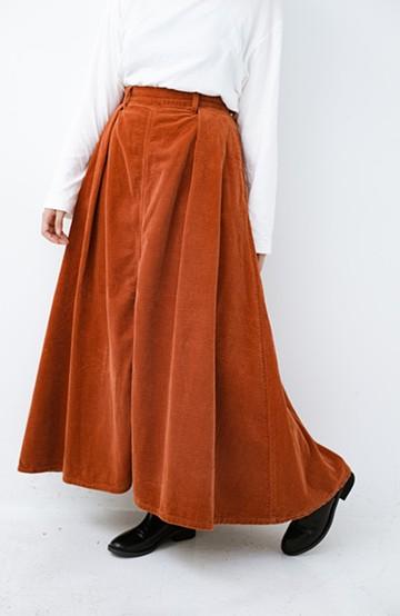 haco! LadyLee ボリュームたっぷりのロングフレアースカート <オレンジ>の商品写真