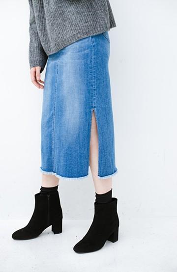 haco! すっきり見えと動きやすさの両立を叶えた ストレッチデニムタイトスカート <ブルー>の商品写真