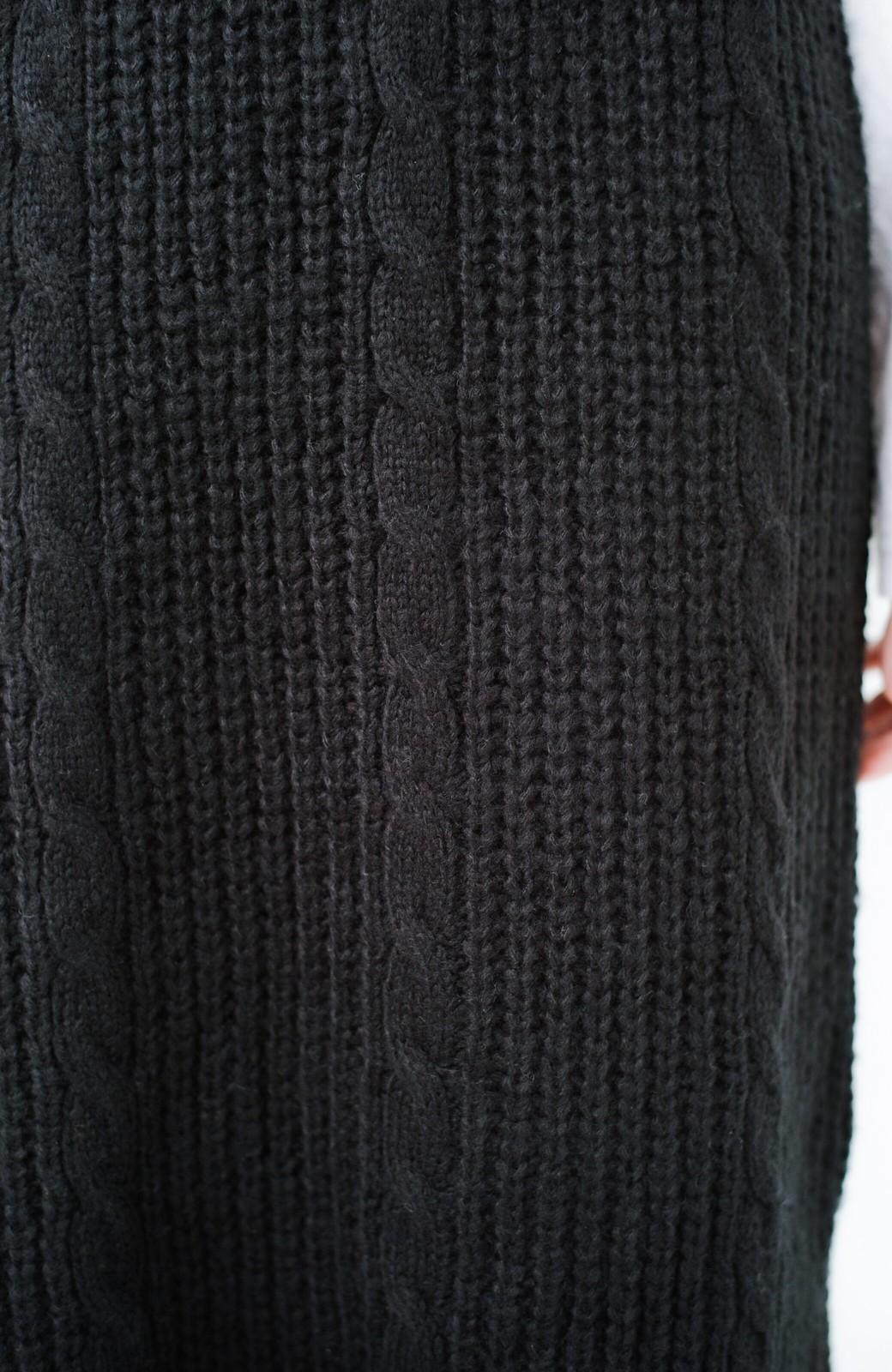 haco! しまった!寝坊した!ってときにも安心なケーブル編みがかわいいニットアップ <ブラック>の商品写真5