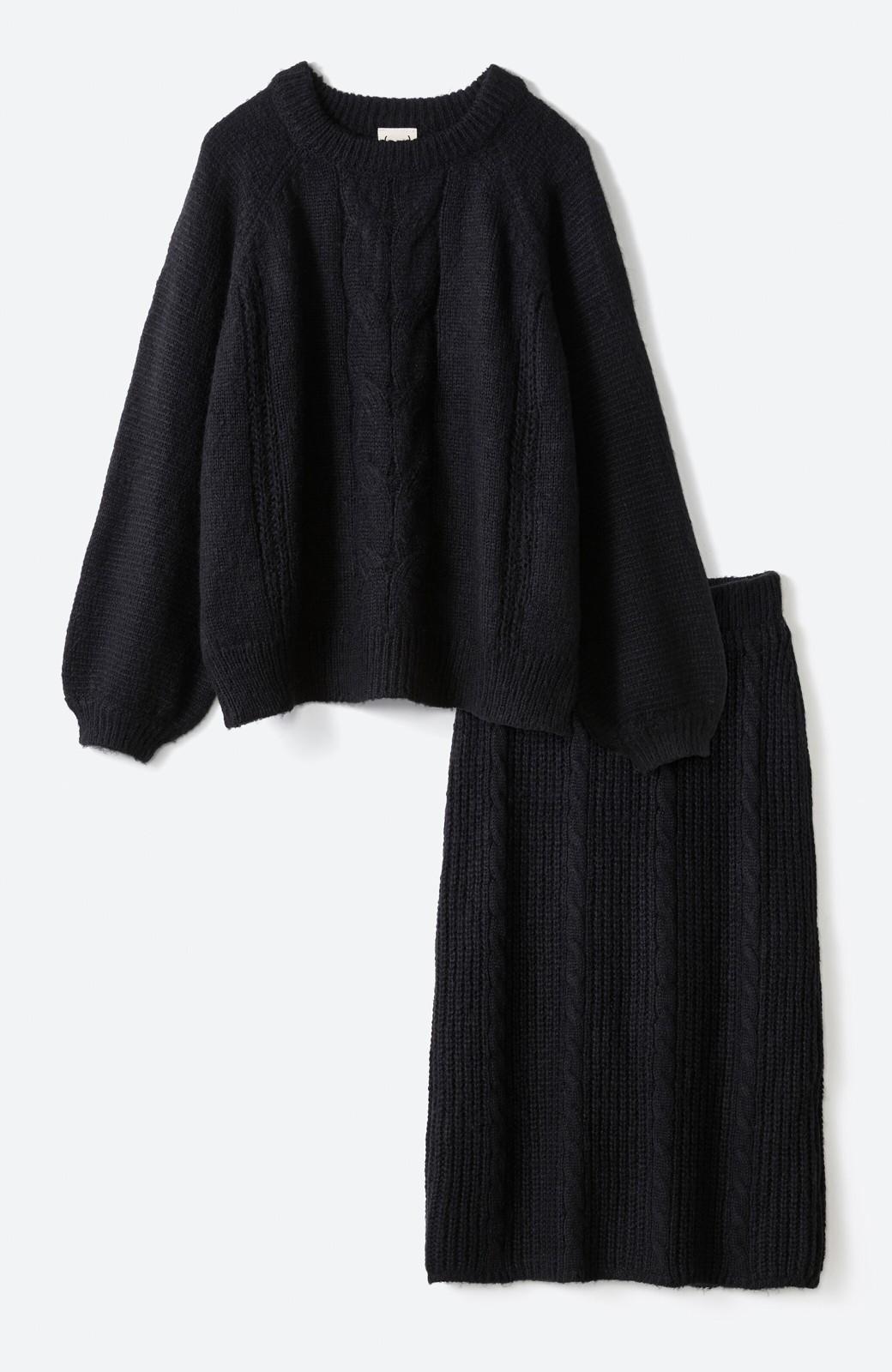 haco! しまった!寝坊した!ってときにも安心なケーブル編みがかわいいニットアップ <ブラック>の商品写真25