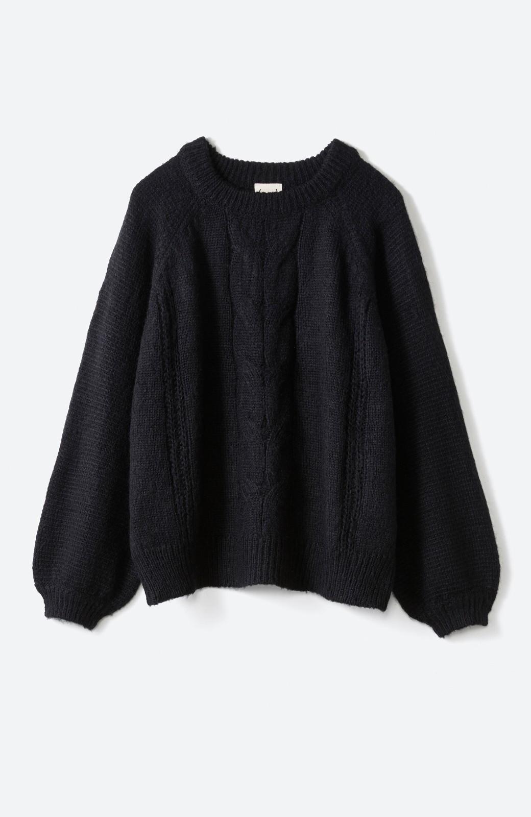 haco! しまった!寝坊した!ってときにも安心なケーブル編みがかわいいニットアップ <ブラック>の商品写真26