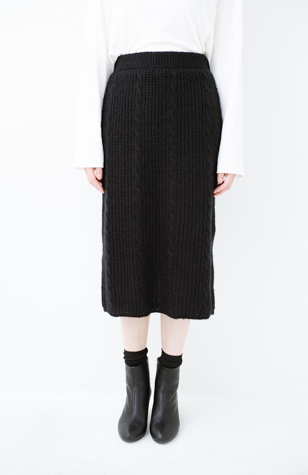 haco! しまった!寝坊した!ってときにも安心なケーブル編みがかわいいニットアップ <ブラック>の商品写真16