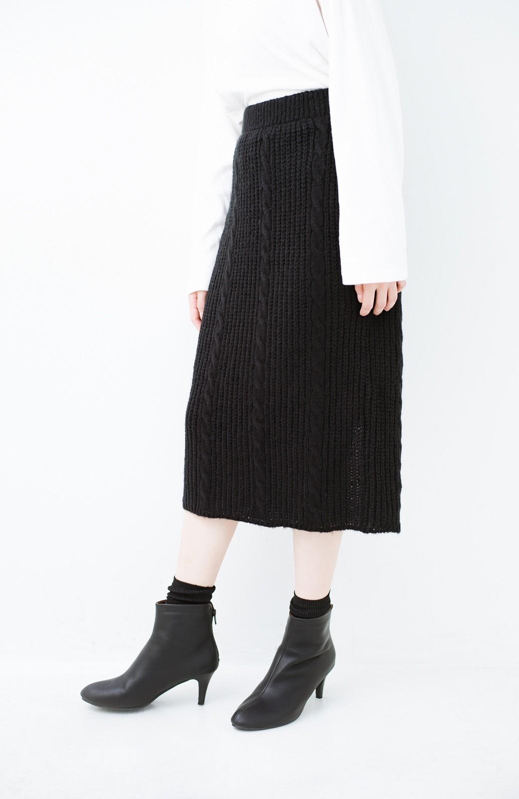 haco! しまった!寝坊した!ってときにも安心なケーブル編みがかわいいニットアップ <ブラック>の商品写真17