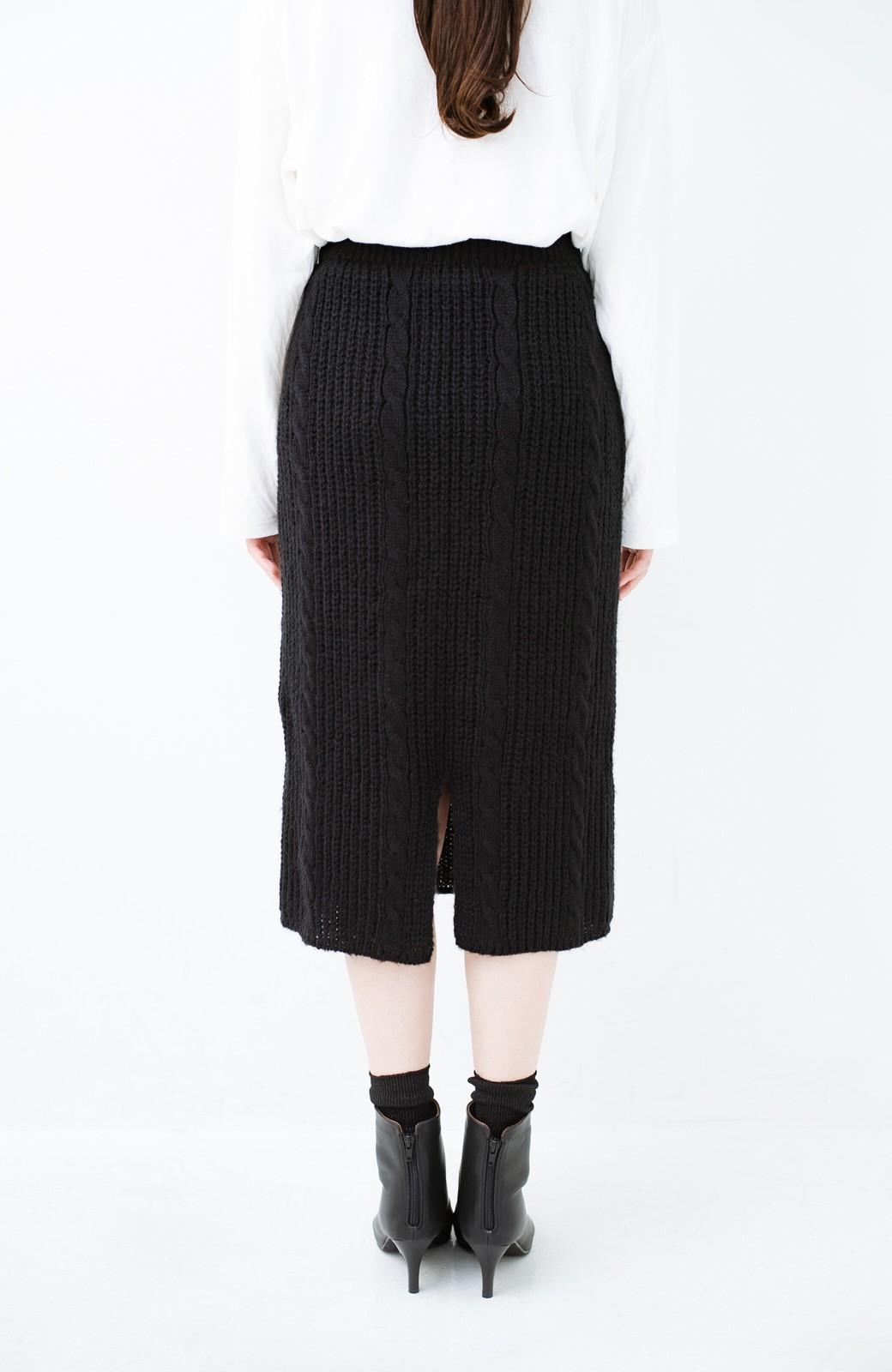 haco! しまった!寝坊した!ってときにも安心なケーブル編みがかわいいニットアップ <ブラック>の商品写真19