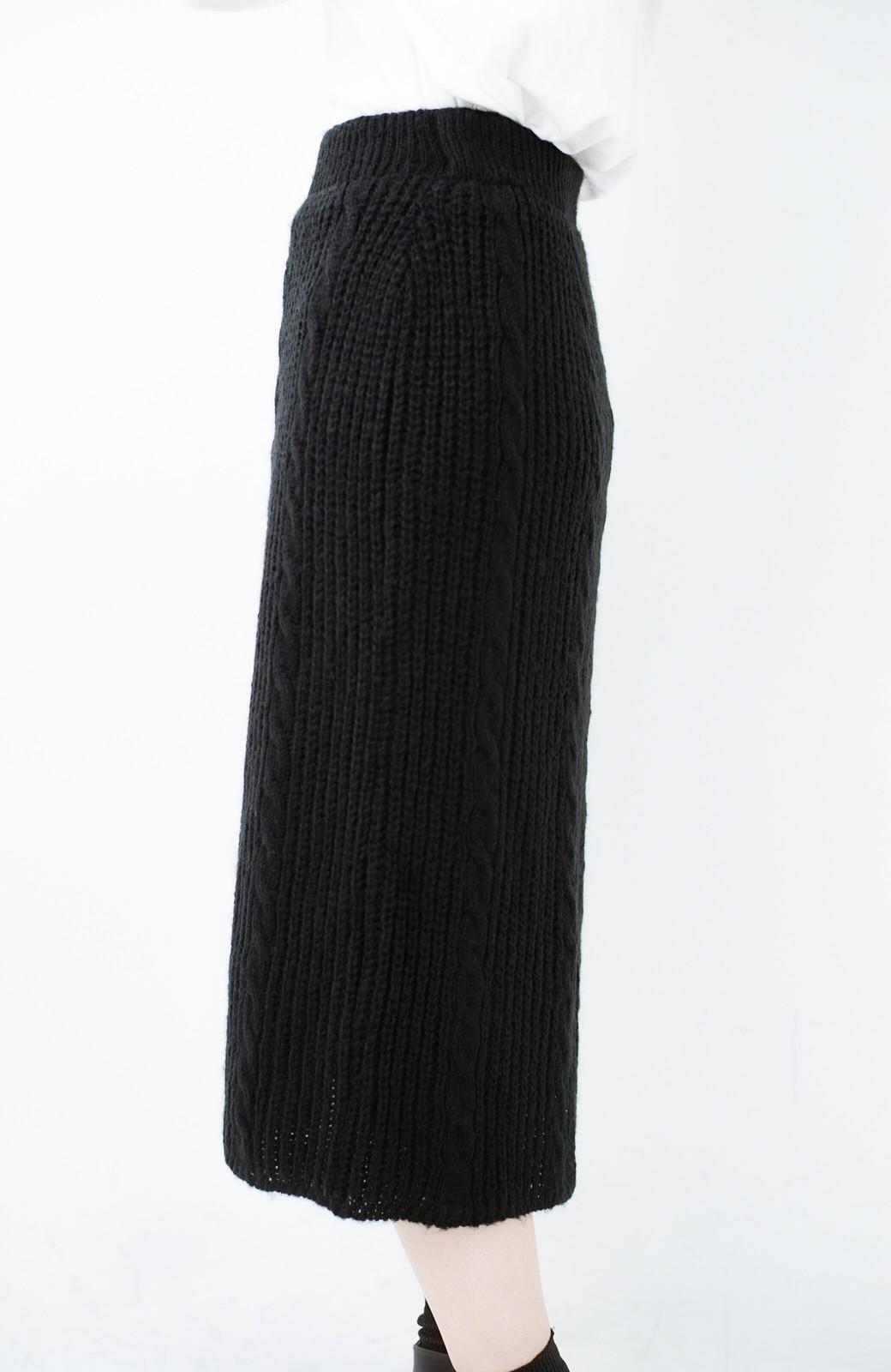 haco! しまった!寝坊した!ってときにも安心なケーブル編みがかわいいニットアップ <ブラック>の商品写真20