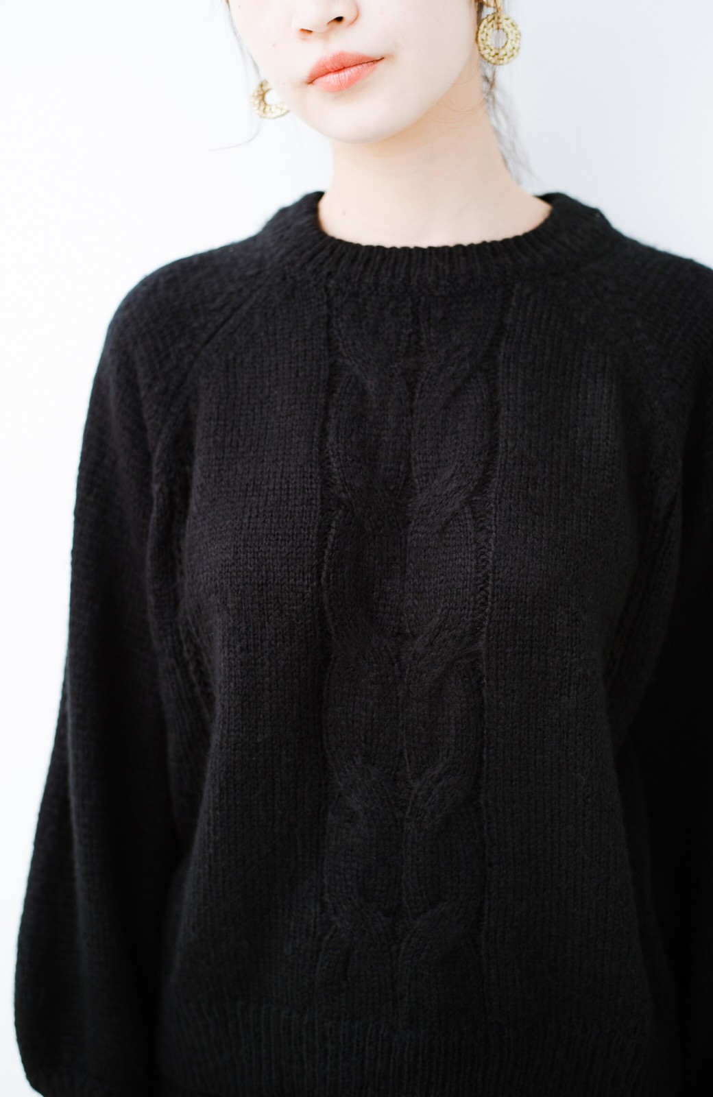 haco! しまった!寝坊した!ってときにも安心なケーブル編みがかわいいニットアップ <ブラック>の商品写真21