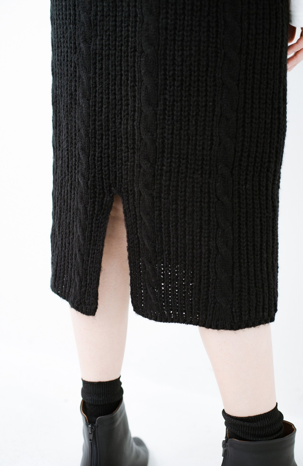 haco! しまった!寝坊した!ってときにも安心なケーブル編みがかわいいニットアップ <ブラック>の商品写真23