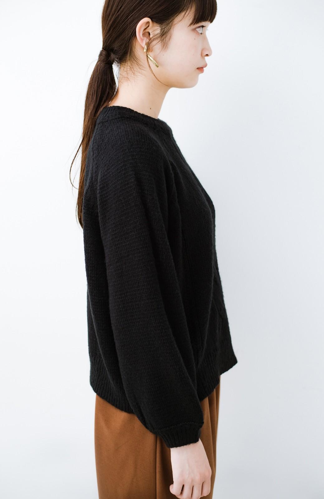 haco! しまった!寝坊した!ってときにも安心なケーブル編みがかわいいニットアップ <ブラック>の商品写真14
