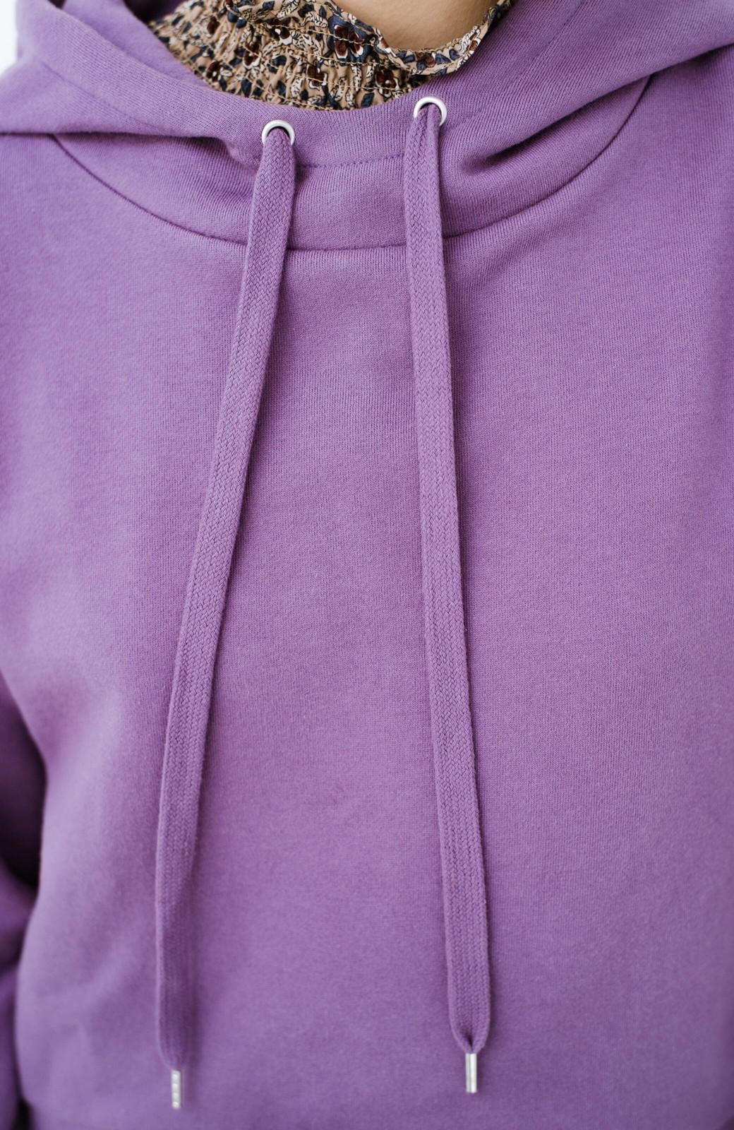 haco! PBPオーガニックコットン 短め丈でバランスよく着られる裏起毛パーカー <パープル>の商品写真6