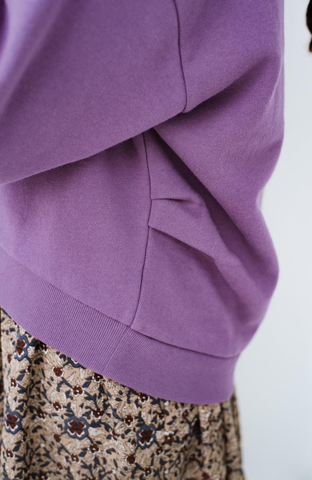 haco! PBPオーガニックコットン 短め丈でバランスよく着られる裏起毛パーカー <パープル>の商品写真7