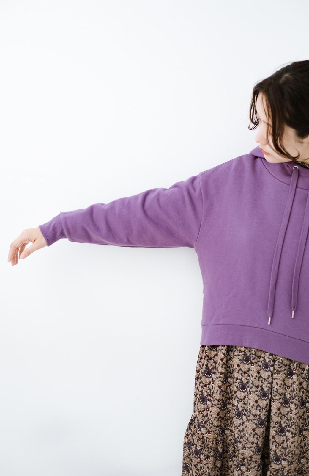 haco! PBPオーガニックコットン 短め丈でバランスよく着られる裏起毛パーカー <パープル>の商品写真15