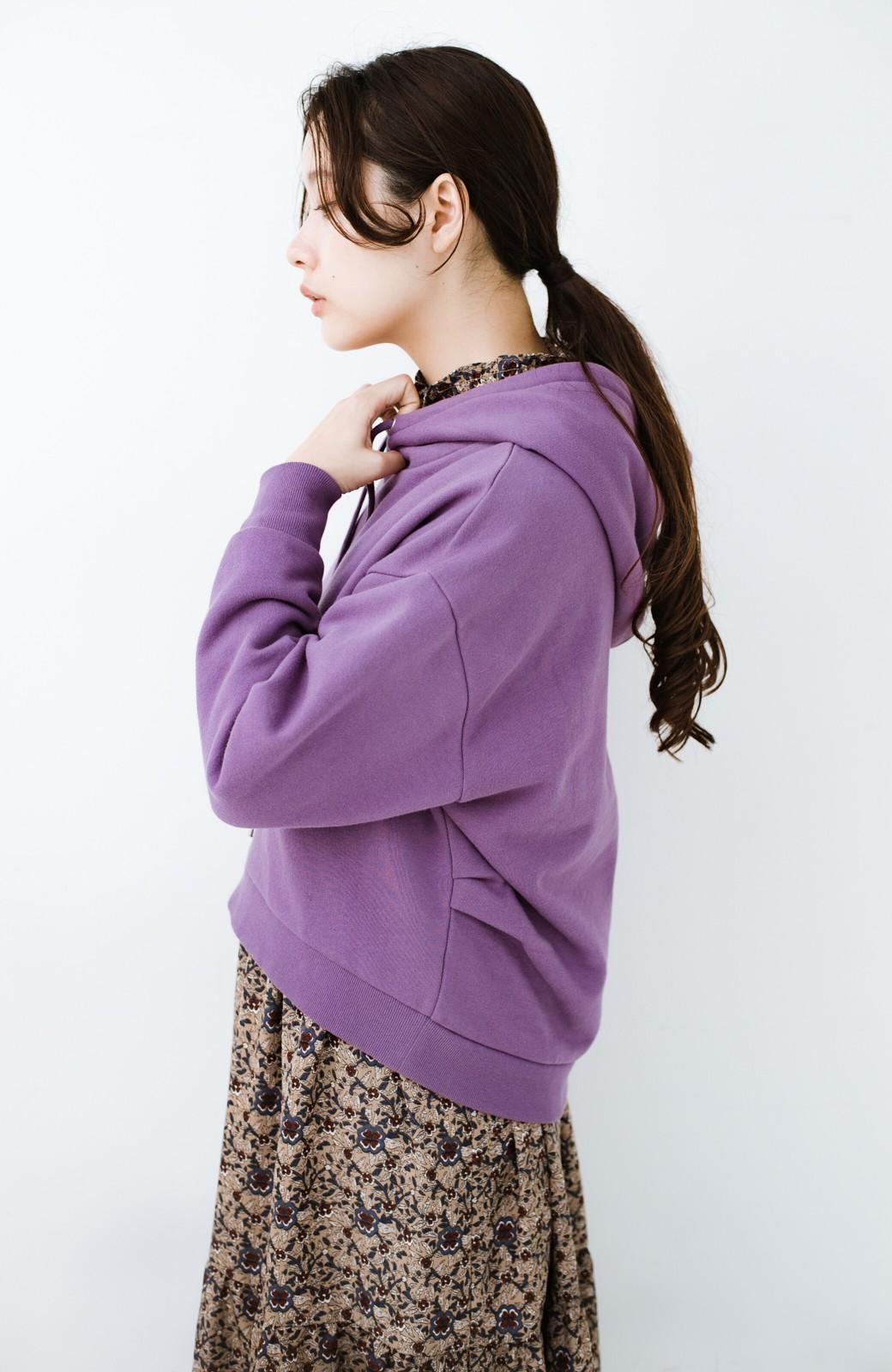 haco! PBPオーガニックコットン 短め丈でバランスよく着られる裏起毛パーカー <パープル>の商品写真17