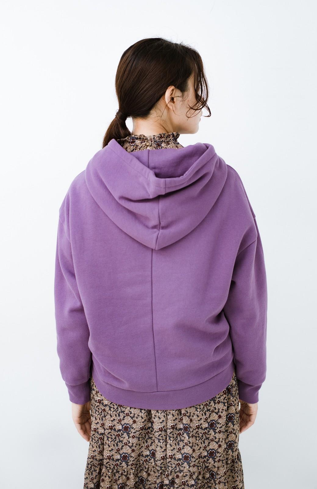 haco! PBPオーガニックコットン 短め丈でバランスよく着られる裏起毛パーカー <パープル>の商品写真18