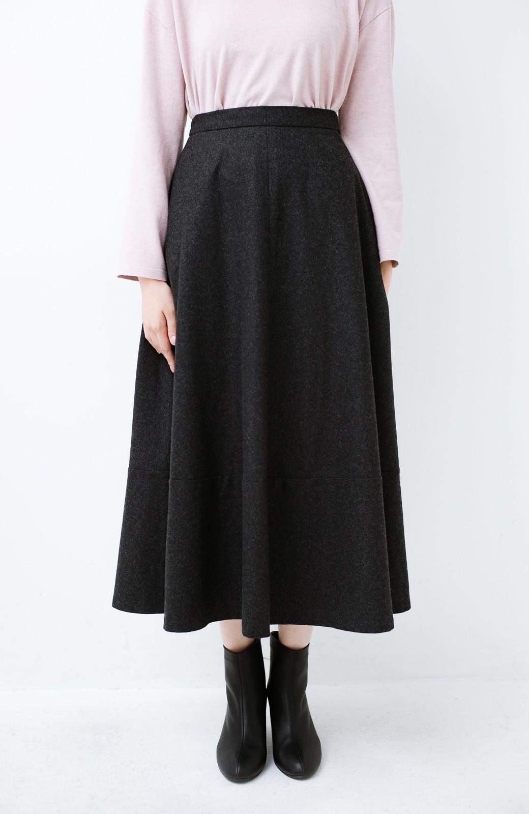 haco! ウール混であったか&大人っぽ!フレアーロングスカート <チャコールグレー>の商品写真5