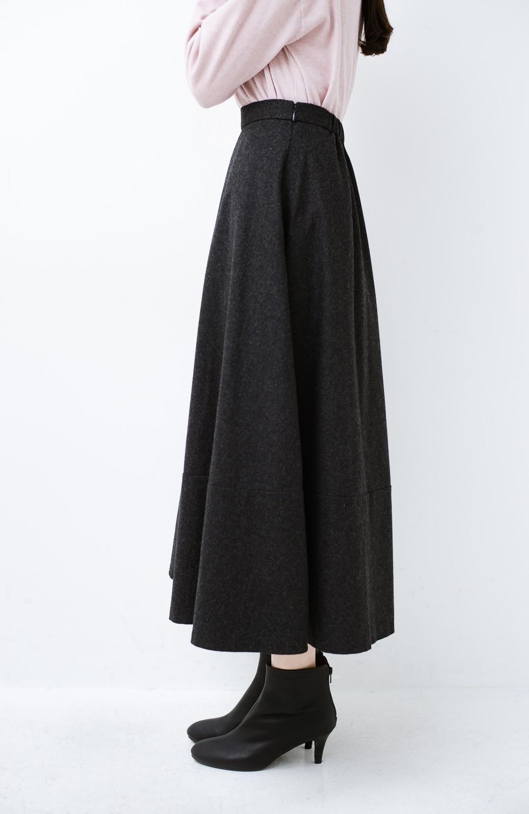 haco! ウール混であったか&大人っぽ!フレアーロングスカート <チャコールグレー>の商品写真6